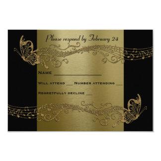 金ゴールドの蝶音楽Fidelityの黒いrsvp 8.9 X 12.7 インビテーションカード