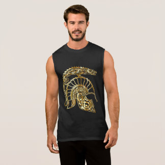 金ゴールドの質の金騎士装甲ヘルメットの炉 袖なしシャツ