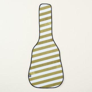 金ゴールドの質ストライプなパターンギターの箱 ギターケース