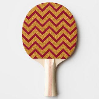 金ゴールドの赤いシェブロンストライプなパターン 卓球ラケット