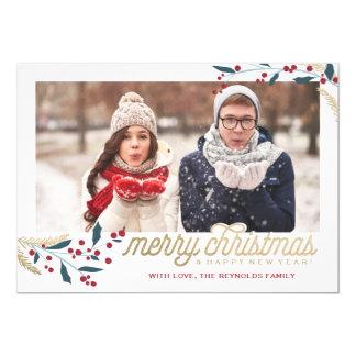 金ゴールドの赤い果実の写真フレーム|のメリークリスマス カード