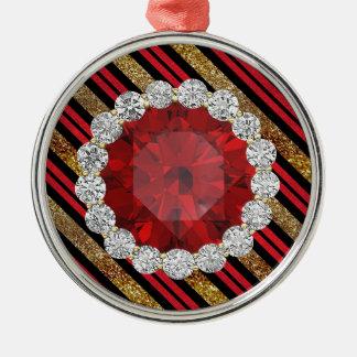 金ゴールドの赤く及び黒く模造のなグリッターのルビー及びダイヤモンド シルバーカラー丸型オーナメント