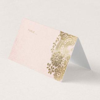金ゴールドの赤面のエレガントなレースの結婚式の座席表 プレイスカード
