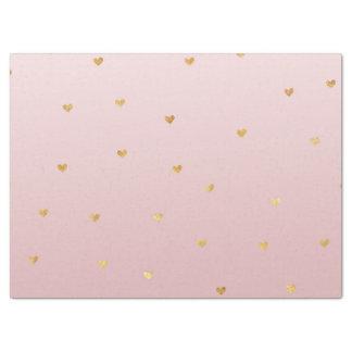 金ゴールドの赤面のピンクのグラデーションなハート 薄葉紙