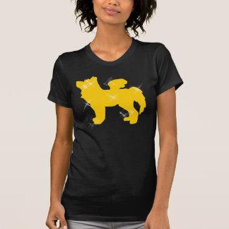 金ゴールドの輝きのオオカミのティー-黒 Tシャツ