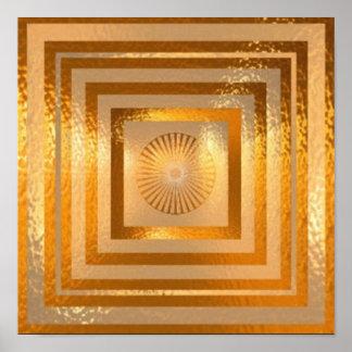 金ゴールドの輝きの曼荼羅 ポスター