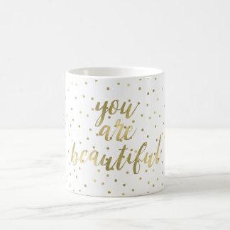 金ゴールドの輝きの紙吹雪美しいです コーヒーマグカップ