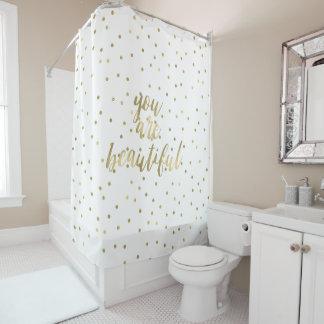 金ゴールドの輝きの紙吹雪美しいです シャワーカーテン