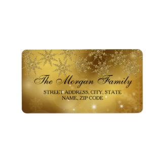 金ゴールドの輝きの雪片のクリスマスの宛名ラベル ラベル
