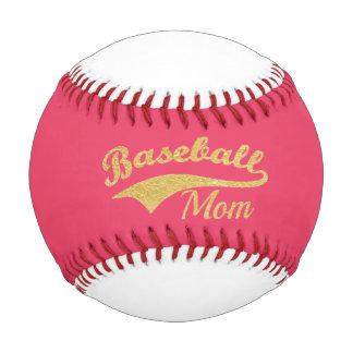 金ゴールドの野球のお母さんの文字とのショッキングピンク 野球ボール