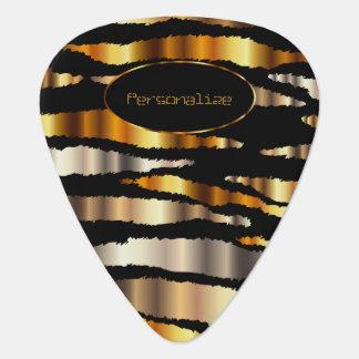 金ゴールドの金属シマウマは| DIYの文字を縞で飾ります ギターピック