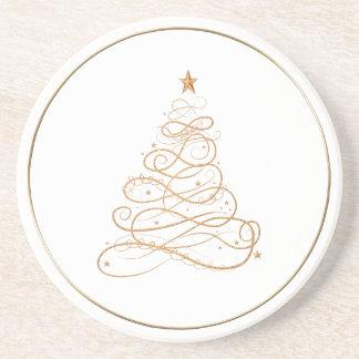 金ゴールドの金属線条細工のクリスマスツリーパターン コースター