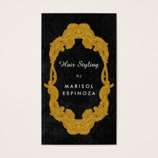 金ゴールドの鏡の毛の化粧のスタイリスト-カスタムな色 名刺