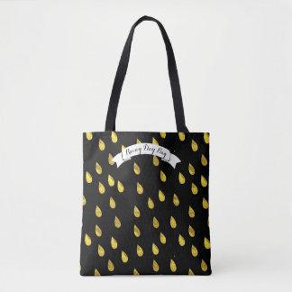 金ゴールドの雨滴の雨の日パターン トートバッグ