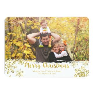 金ゴールドの雪片のメリークリスマスの休日の写真カード 12.7 X 17.8 インビテーションカード