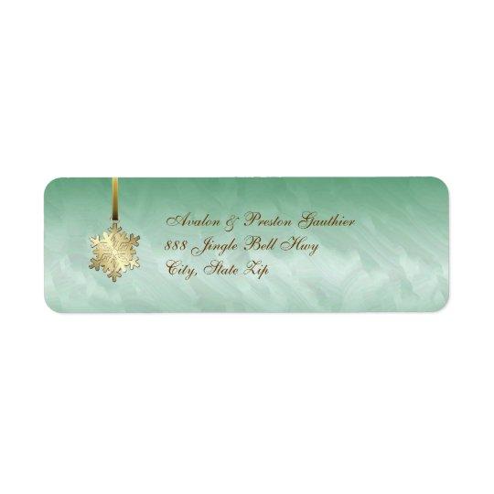 金ゴールドの雪片の緑の休日の宛名ラベル ラベル