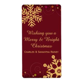 金ゴールドの雪片の赤いクリスマスの休日のワインのラベル 発送ラベル