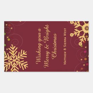 金ゴールドの雪片の赤いクリスマスの休日のワインのラベル 長方形シール