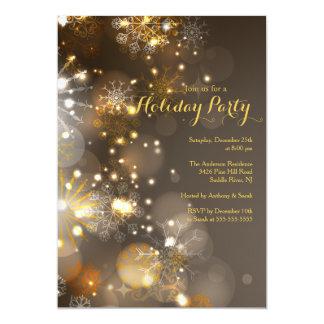 金ゴールドの雪片及び《写真》ぼけ味ライト休日の招待状 カード