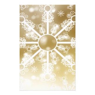金ゴールドの雪片 便箋