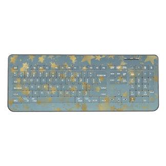 金ゴールドの青い《写真》ぼけ味の星 ワイヤレスキーボード
