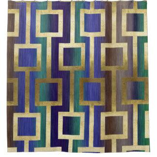 金ゴールドの青緑のタンのエレガントでコンテンポラリーな紫色 シャワーカーテン