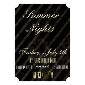 金ゴールドの革夏の夜パーティーかInvitaクラブフライヤ カード