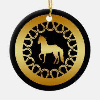 金ゴールドの馬および蹄鉄のオーナメント セラミックオーナメント