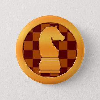金ゴールドの騎士駒 5.7CM 丸型バッジ