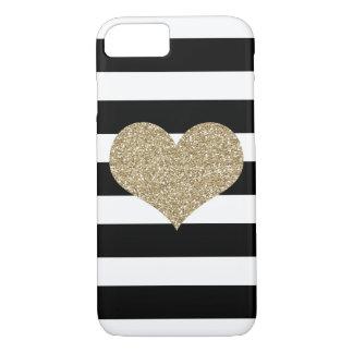 金ゴールドの魅力的なハート黒いまたは白のストライプなiPhone 7の場合 iPhone 8/7ケース