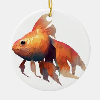 金ゴールドの魚 セラミックオーナメント