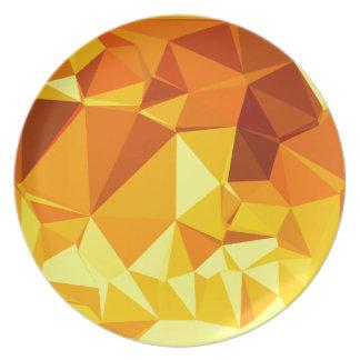 金ゴールドの黄色いバナナの抽象芸術の低い多角形の背景 プレート