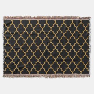 金ゴールドの黒いクローバーパターン スローブランケット