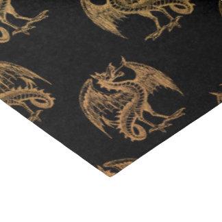 金ゴールドの黒いファンタジーのドラゴンのパーティーのティッシュペーパー 薄葉紙