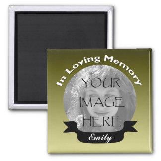 金ゴールドの黒いリボンの写真の記憶磁石 マグネット