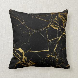 金ゴールドの黒い大理石-装飾用クッション クッション