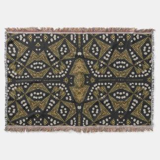 金ゴールドの黒い種族の幾何学的な編まれたブランケット スローブランケット