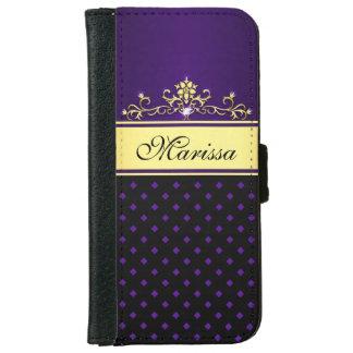 金ゴールドの黒い紫色のダイヤモンドのiPhone 6のウォレットケース iPhone 6/6s ウォレットケース