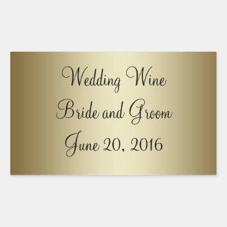 金ゴールドの黒い結婚式のワインのラベルのステッカー 長方形シール