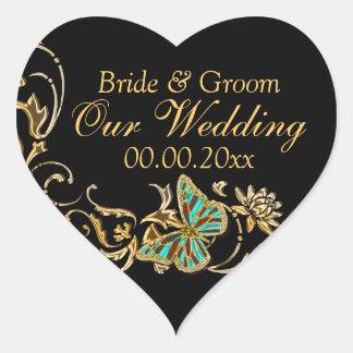 金ゴールドの黒い蝶結婚式の婚約 ハート形シールステッカー