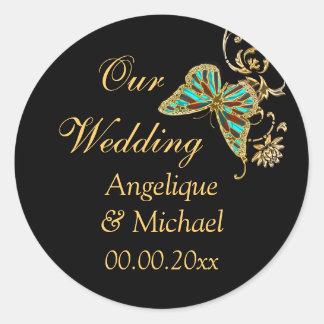 金ゴールドの黒い蝶結婚式の婚約 ラウンドシール