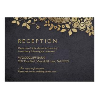 金ゴールドの黒くエレガントなヴィンテージのレースの結婚披露宴 カード