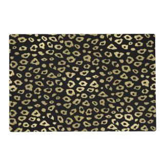 金ゴールドの黒くグラデーションなヒョウのプリント ラミネート プレート