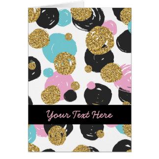 金ゴールドの黒く青いピンクの魅力的な点 カード