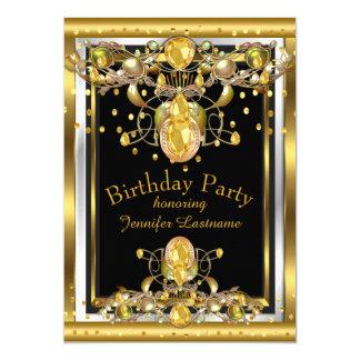 金ゴールドの黒によって宝石で飾られる誕生日のパーティの招待状 12.7 X 17.8 インビテーションカード