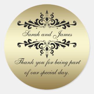 金ゴールドの黒の渦巻は結婚式の引き出物のステッカー感謝していしています ラウンドシール