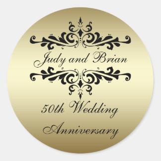 金ゴールドの黒の第50結婚記念日のステッカー ラウンドシール