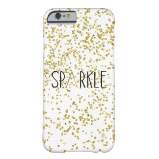 金ゴールドの黒の輝きの紙吹雪 BARELY THERE iPhone 6 ケース