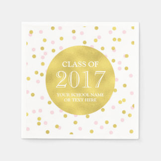 金ゴールドの2017年の卒業のピンクの紙吹雪のクラス スタンダードカクテルナプキン