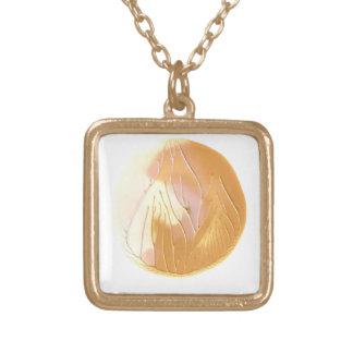 金ゴールドの、クリーム色およびピンクの色彩の鮮やかな月のネックレス ゴールドプレートネックレス